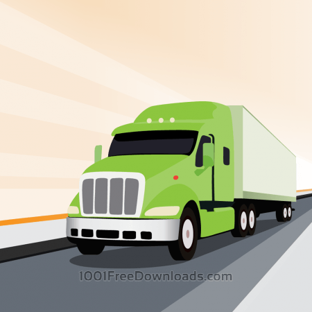 Free Vector illustration Green truck