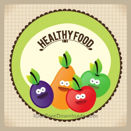 Free Healthy food illustration with fruits