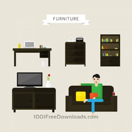 Free House and office furniture illustrations