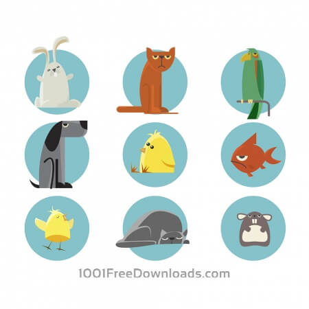 Free Set of vector illustrated animals. For free design