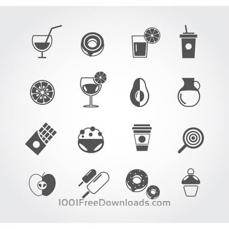 Free Food free vector mono color set. Icons for design
