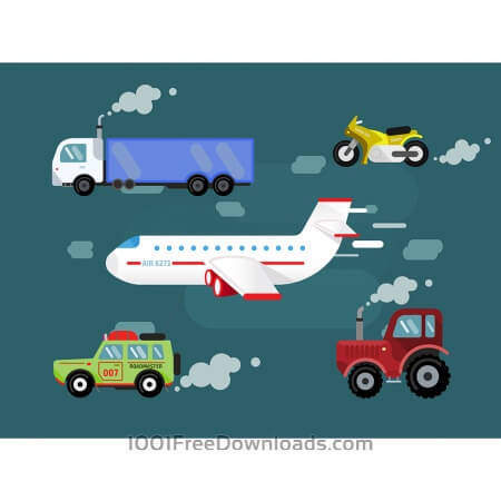 Free Vector set transport for free design. Cer, truck, airplane, bike