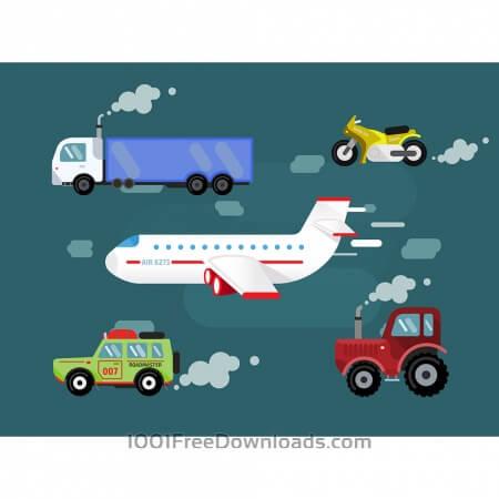 Free Vector set transport for free design. Cer, truck, airplane, bike