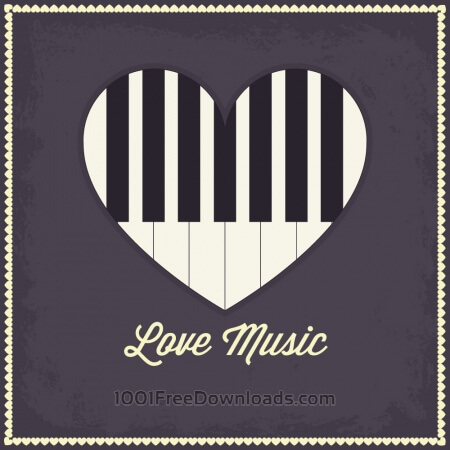 Free Music illustration with heart and piano keyboard