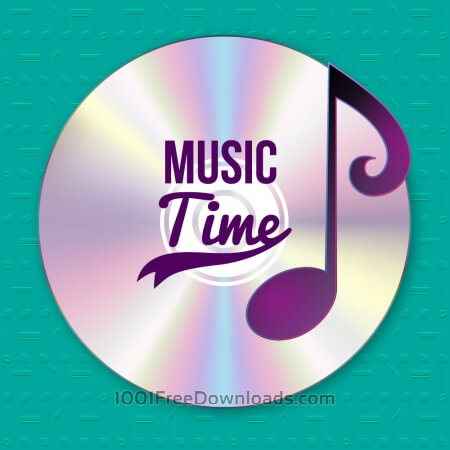 Free Music illustration with CD and musical notes