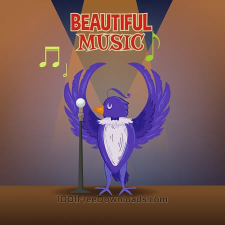 Free Music illustration with cute bird and typography
