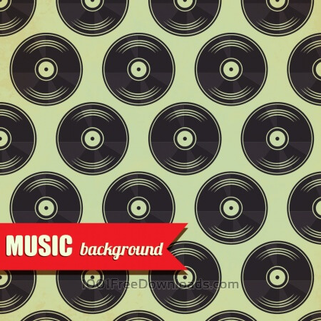 Free Music pattern with vinyl disk