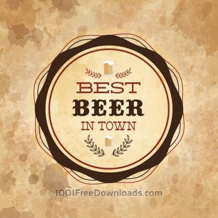 Free Retro styled label of beer on grunge paper background