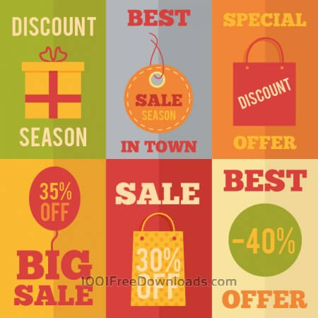 Free Sale flat concept design icons, shopping
