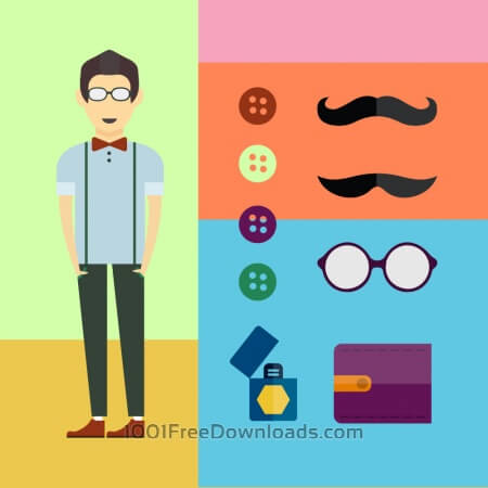 Free People vector character with tools and objects. Free illustration for design