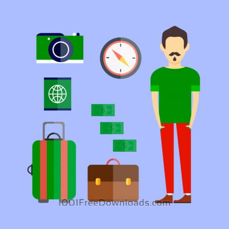 Free People vector travel character with tools and objects. Free illustration for design
