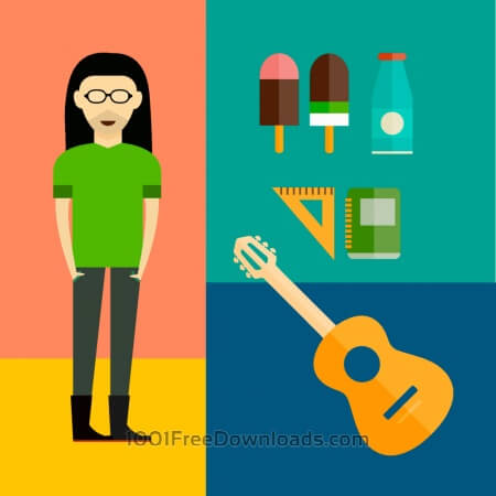 Free People vector music hero character with tools and objects. Free illustration for design