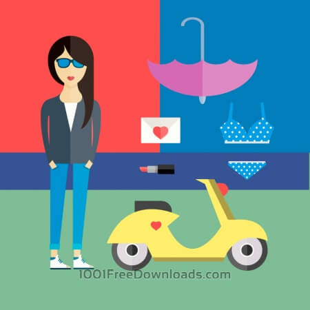 Free People vector girl character with tools and objects. Free illustration for design