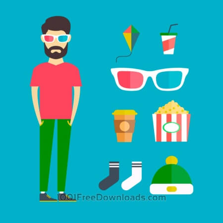 Free People vector young character with tools and objects. Free illustration for design