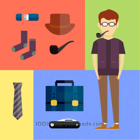 Free People vector hipster character with tools and objects. Free illustration for design