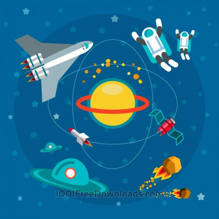 Free Space world with man and some objects. For free vector design