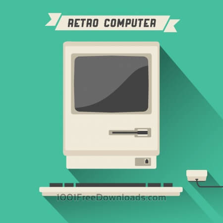 Free Retro Computer with Long Shadow