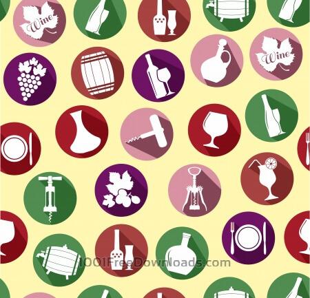 Free Seamless pattern of wine. Vintage style.