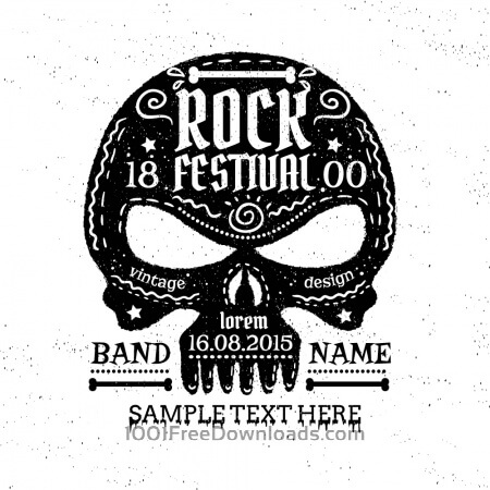 Vintage skull with typography