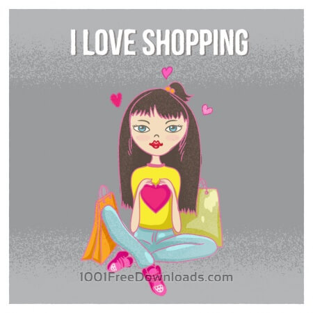 Free Shopping girl with bags