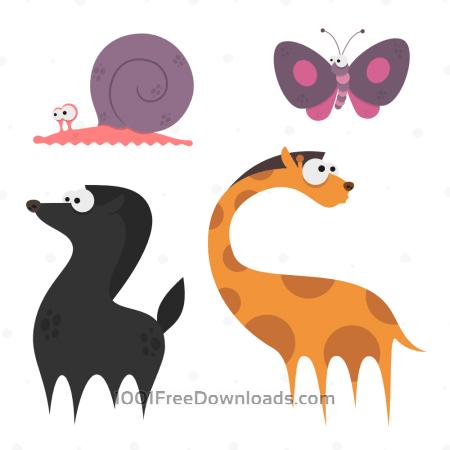 Free Cute Animals Vector Set 10