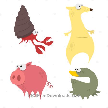 Free Cute Animals Vector Set 7