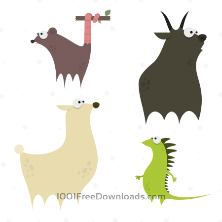 Free Cute Animals Vector Set 4
