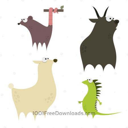 Free Cute Animals Vector Set 4