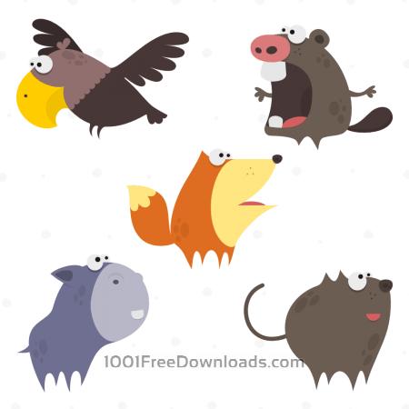Free Cute Animals Vector Set 1