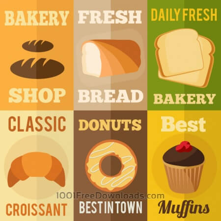 Free Bakery flat design concepts