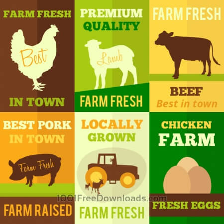 Free Farm products flat design concept cards