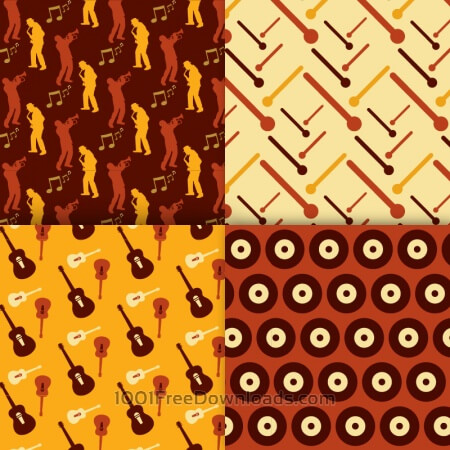 Free Retro musical patterns set