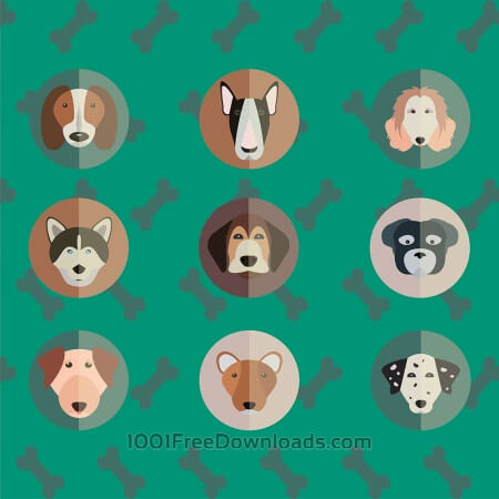 Free Vector illustration of cute dogs head set for free vector design