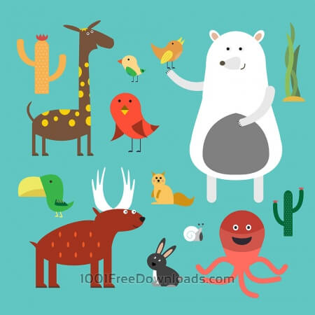 Free Vector illustration of cute animal set for free vector design
