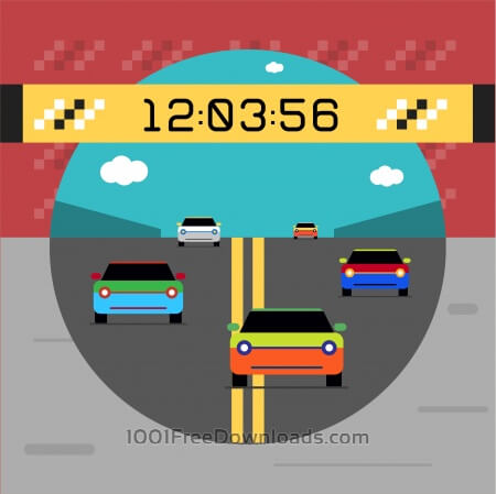 Free Sport cars on road. Vector illustration of race