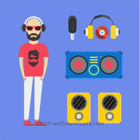Free Some DJ man with music tools - vector free illustration