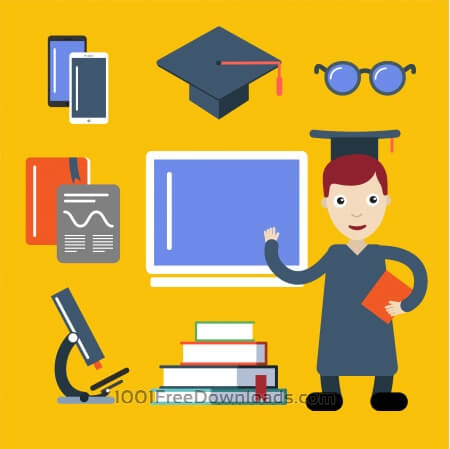 Free Student character vector illustration for free design