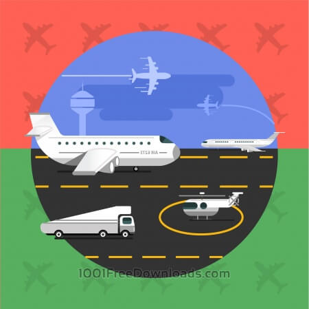 Free Free vector illustration of airport with planes - travel