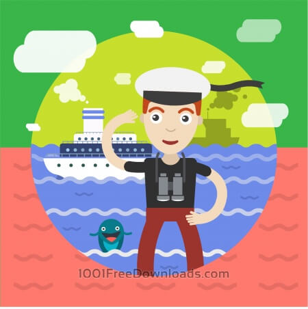 Free Free vector illustration of sailor and some ship and landscape