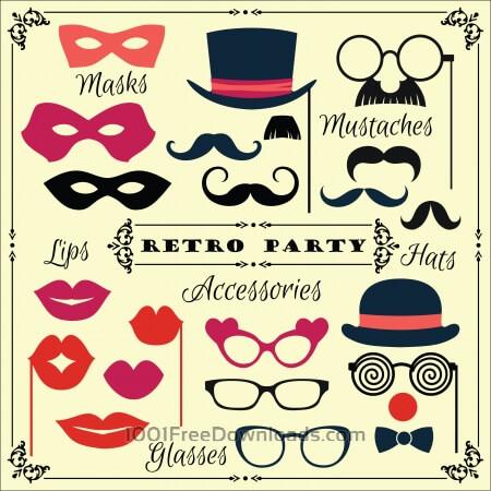 Free  Accessories for fun retro party. Vector illustration