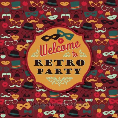 Free Invitation to fun retro party. Vector illustration.