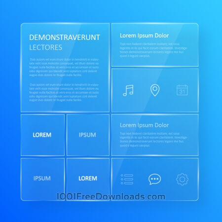 Free Transparent, blue glassy user interface