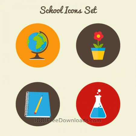 Free Flat school icon set