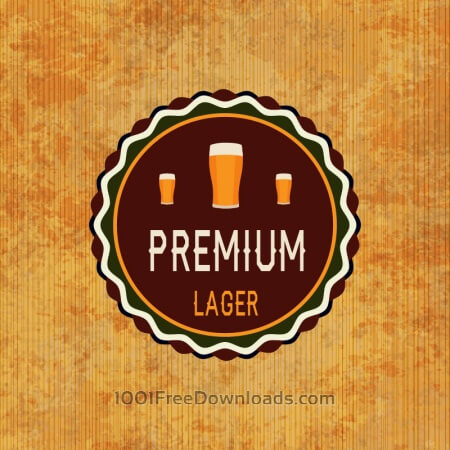 Free Retro beer label on grunge background