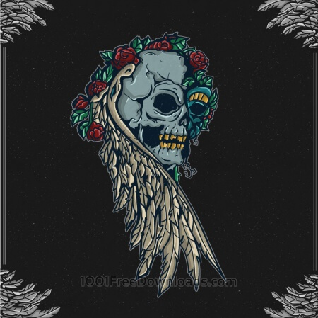 Free Vintage skull with floral ornaments and frame