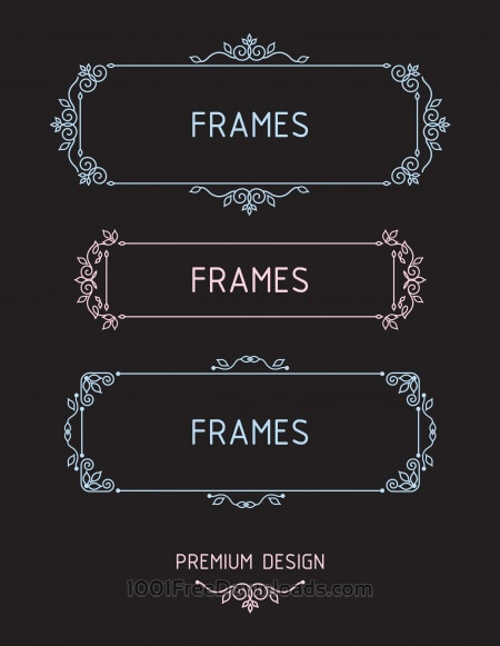 Free Vector outline frames. Elements design templates.