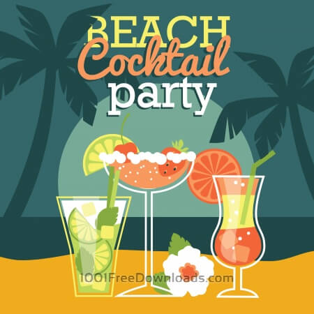 Free Beach cocktail party. Vector illustration