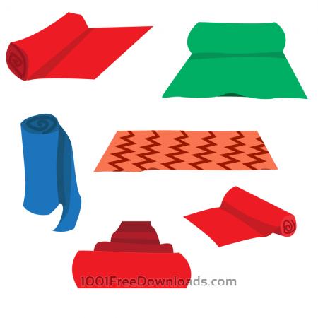 Free Cartoon Carpet Roll Vector Set
