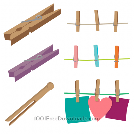 Free Clothespins Vector Set