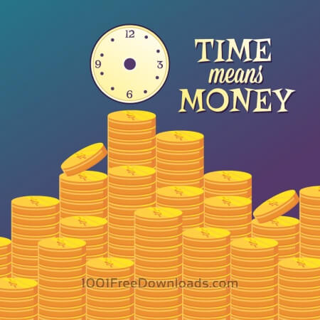 Free Money illustration with coins and clock